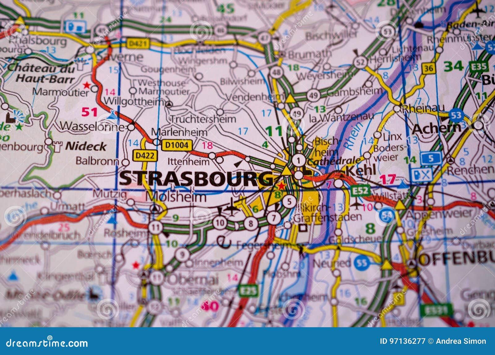 Strasbourg On Map Stock Image Image Of City Transport 97136277