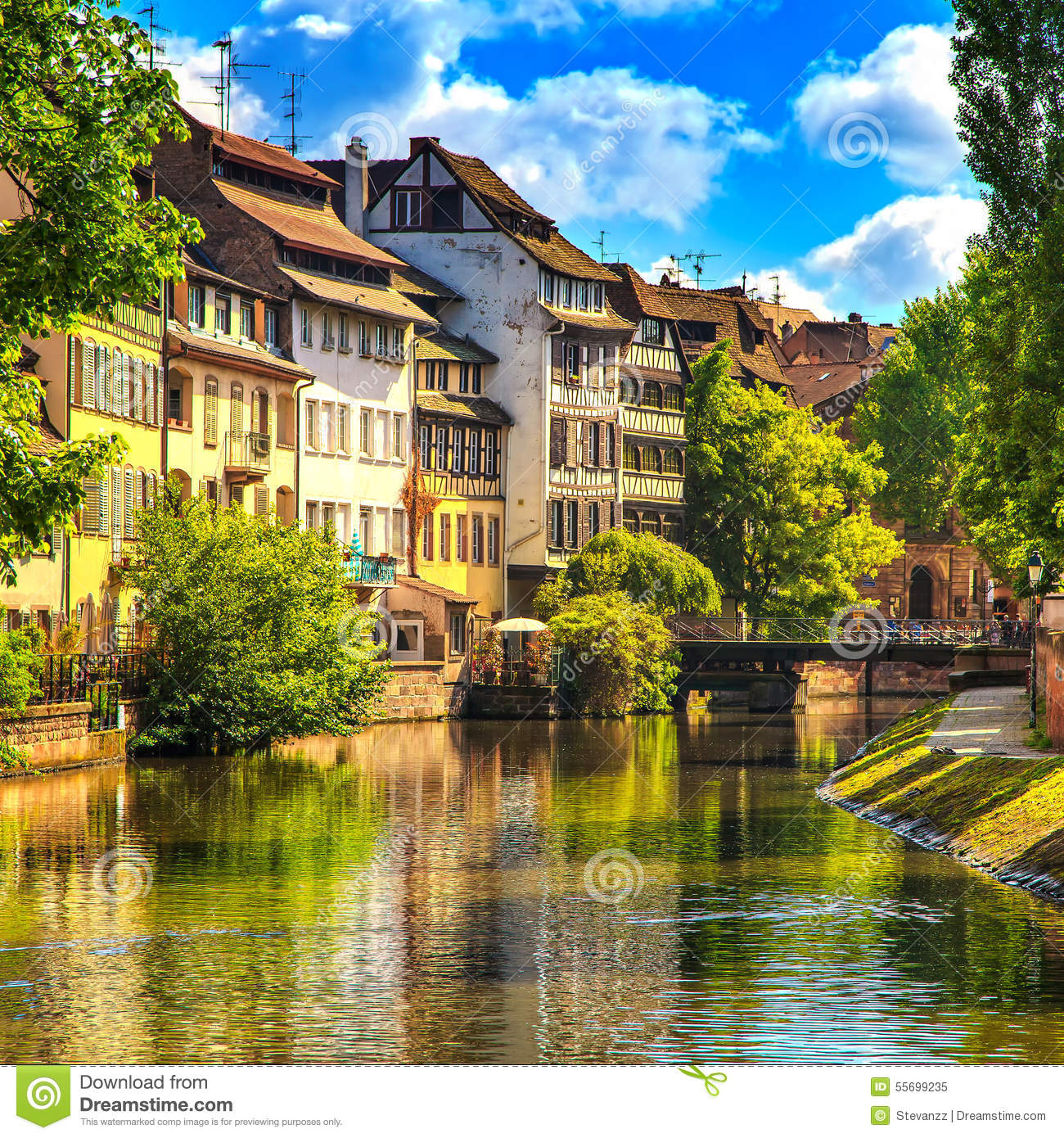 Strasbourg Water Canal In Petite France Area Unesco Site Alsace