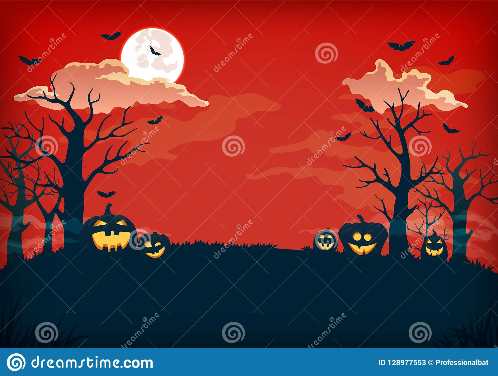 Straszna czerwień i zmrok - błękitny nocy tło z księżyc w pełni, chmurami, nagimi drzewami, nietoperzami i baniami,