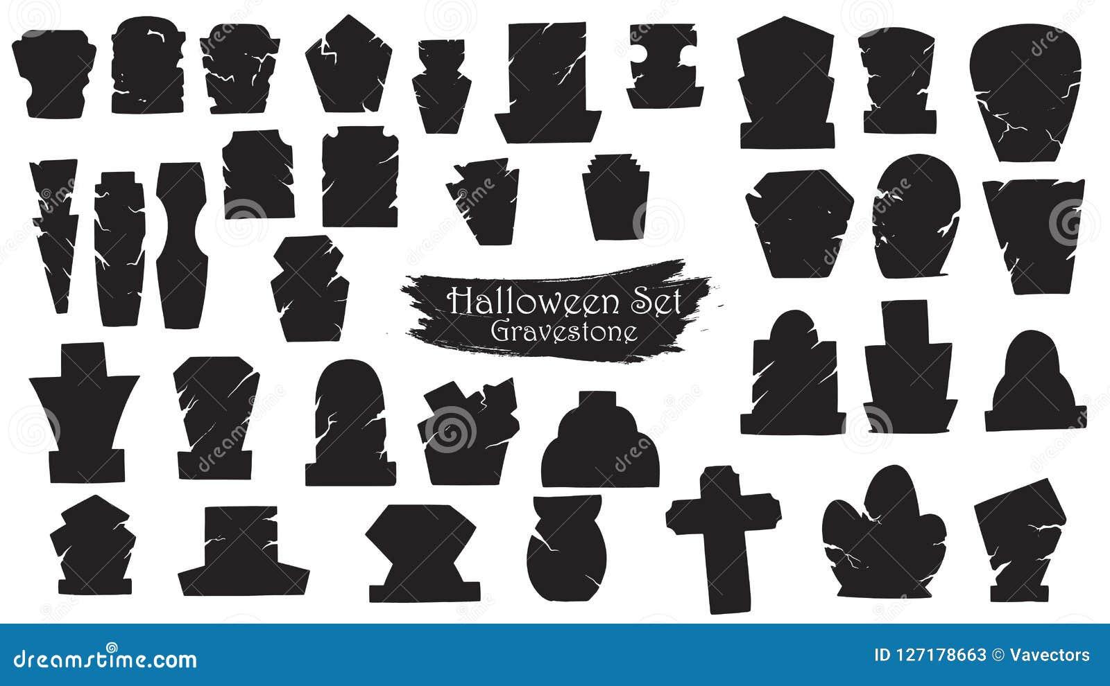 Strasznego gravestone sylwetki cmentarniana kolekcja Halloween ve