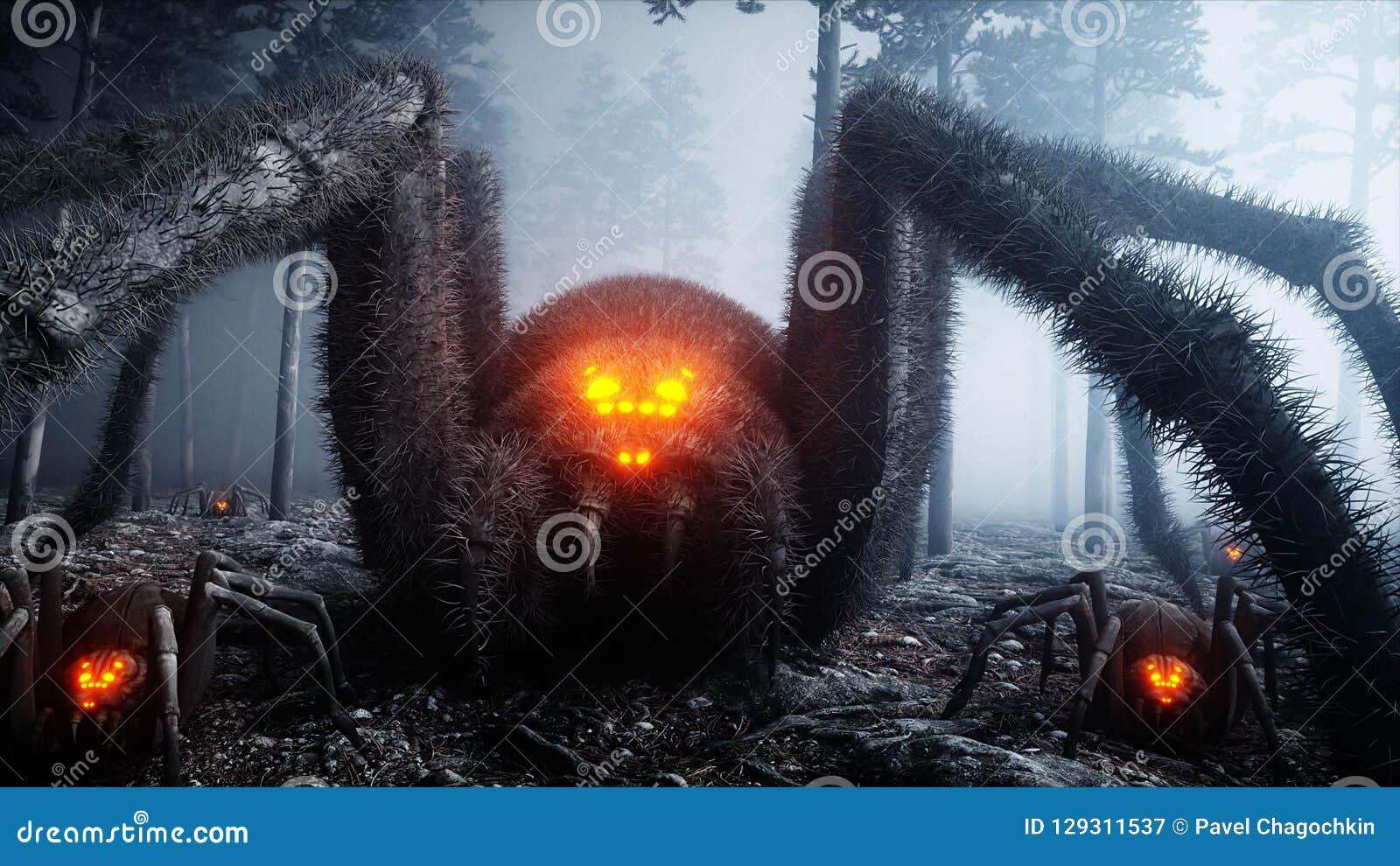Straszny gigant pająk w mgły nocy lasowym strachu i horrorze Mistic i Halloween pojęcie świadczenia 3 d
