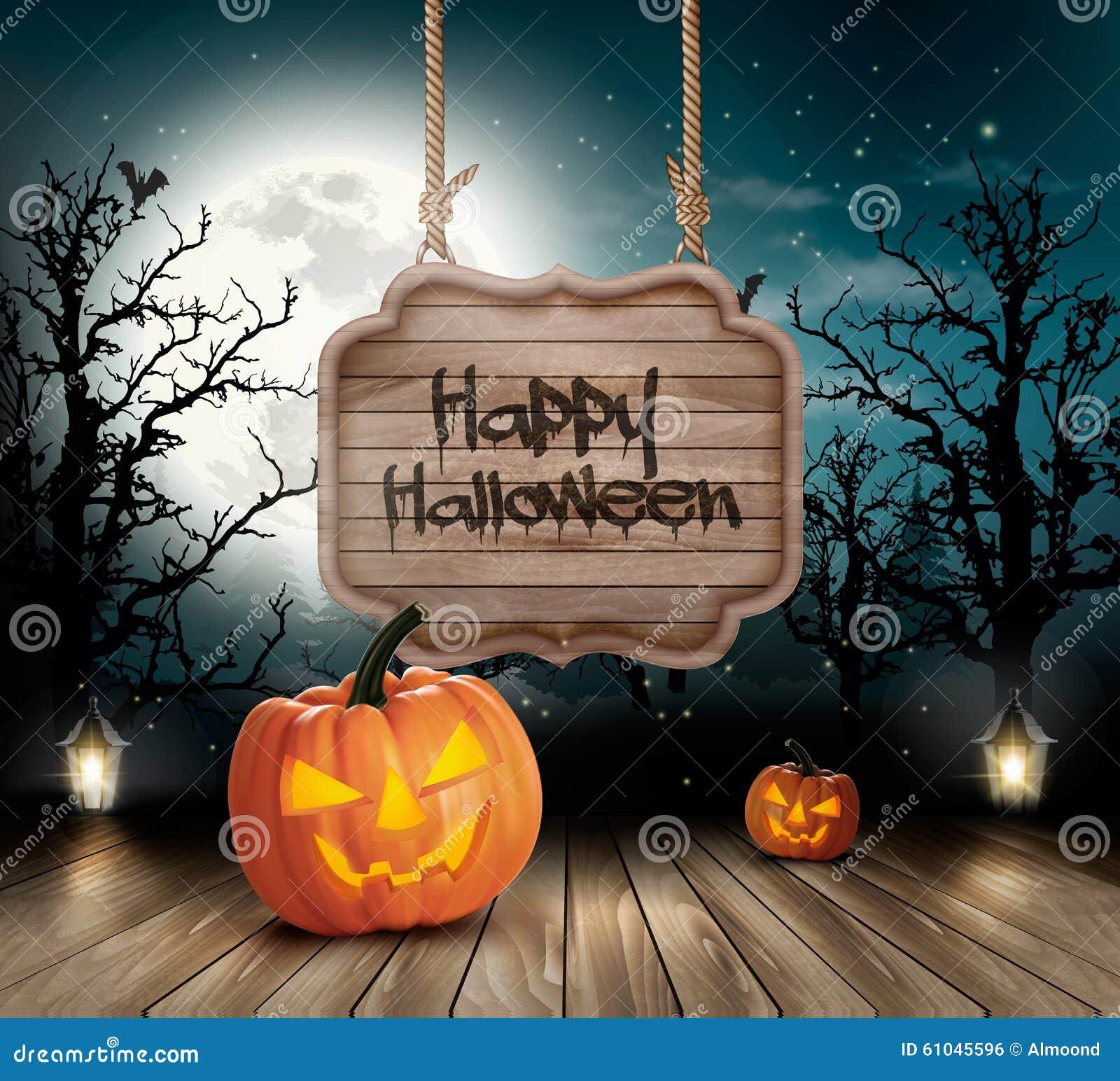 Straszny Halloweenowy tło z drewnianym znakiem