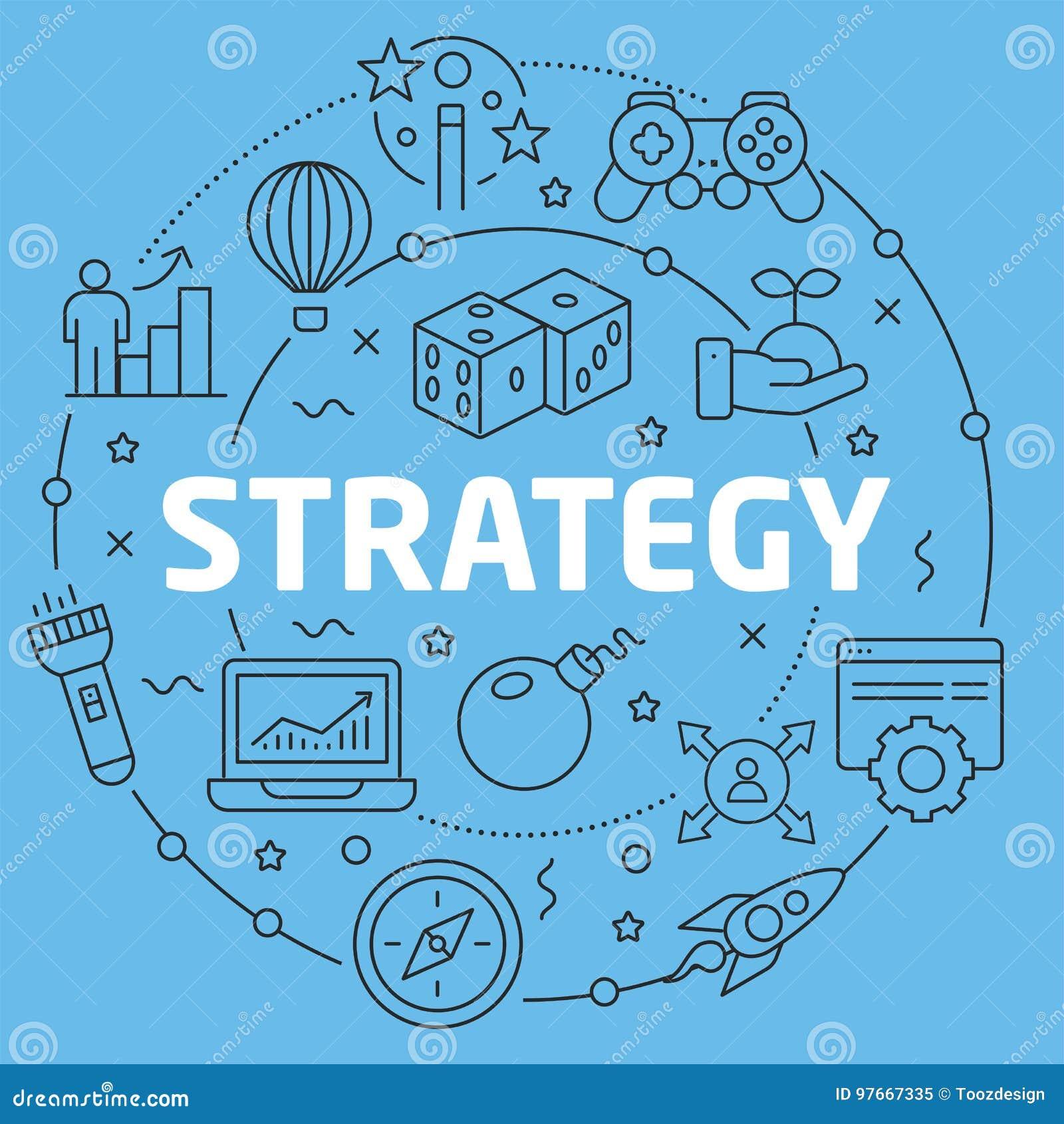 Stratégie plate d illustration de cercle de Blue Line