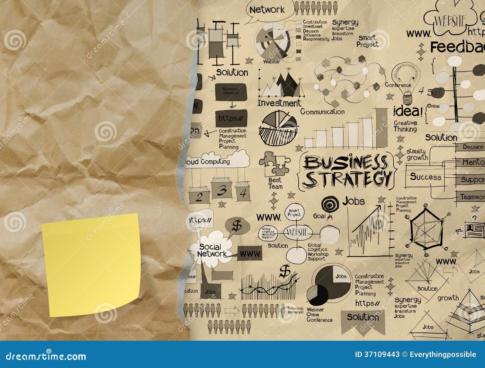 Strategia aziendale sul fondo di carta sgualcito della busta