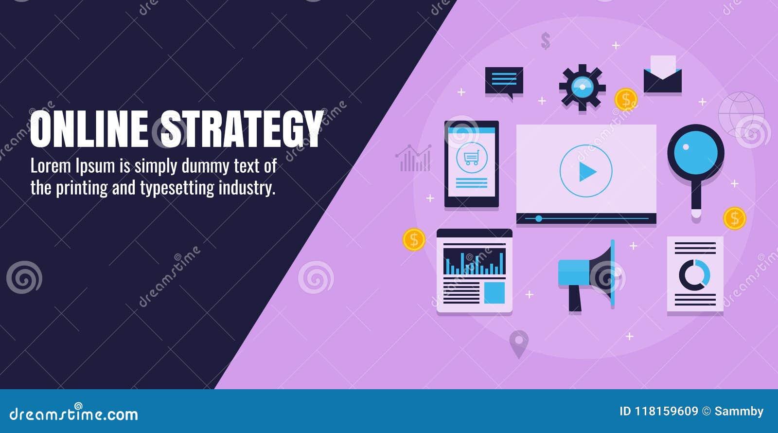 Strategia di marketing online, marcare a caldo digitale, affare, contenuto, seo, media sociali, analisi dei dati, concetto di pro
