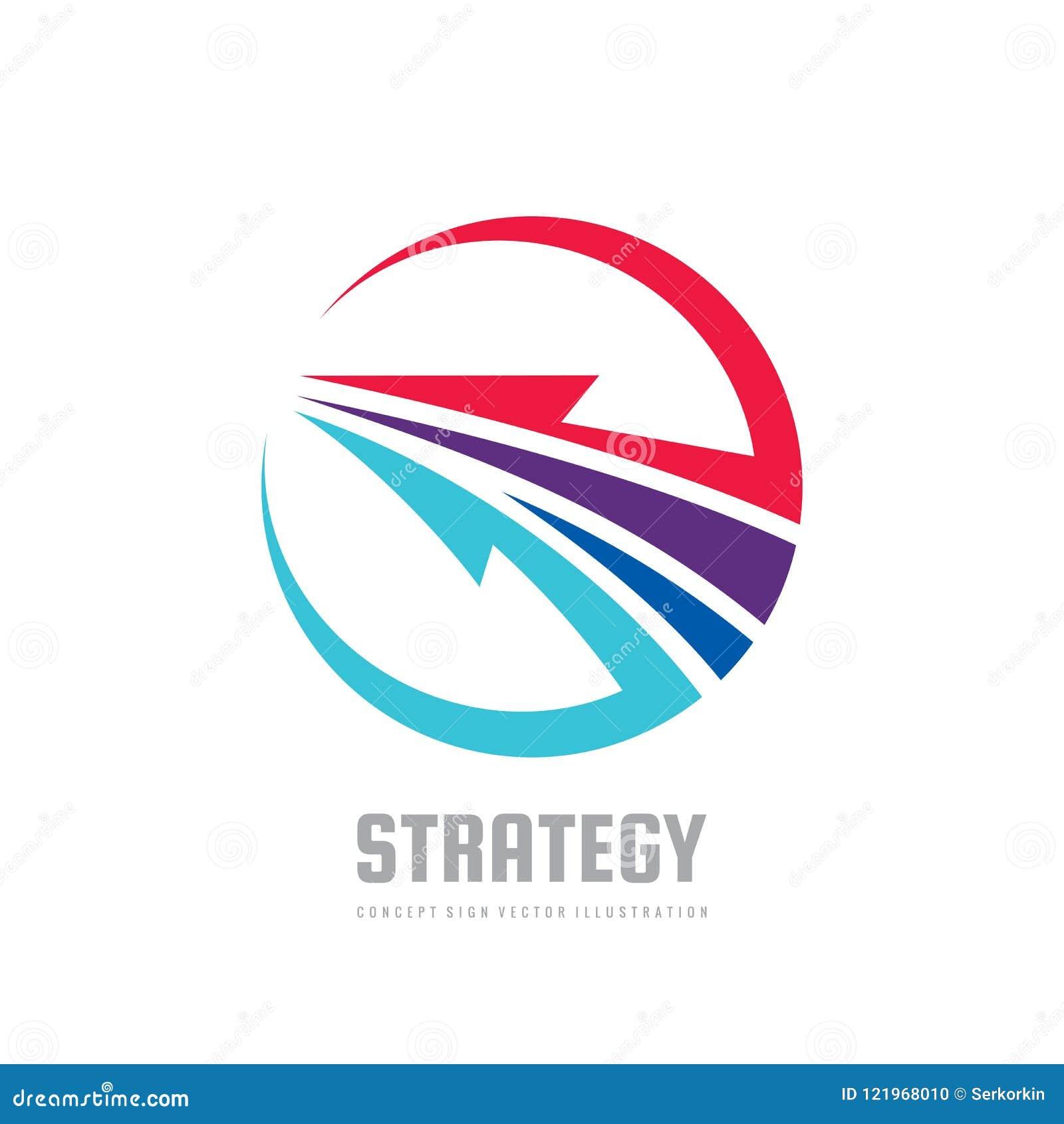 Strategia - pojęcie loga szablonu wektoru biznesowa ilustracja Rozwoju kreatywnie znak Abstrakcjonistyczna strzała w okręgu kszta