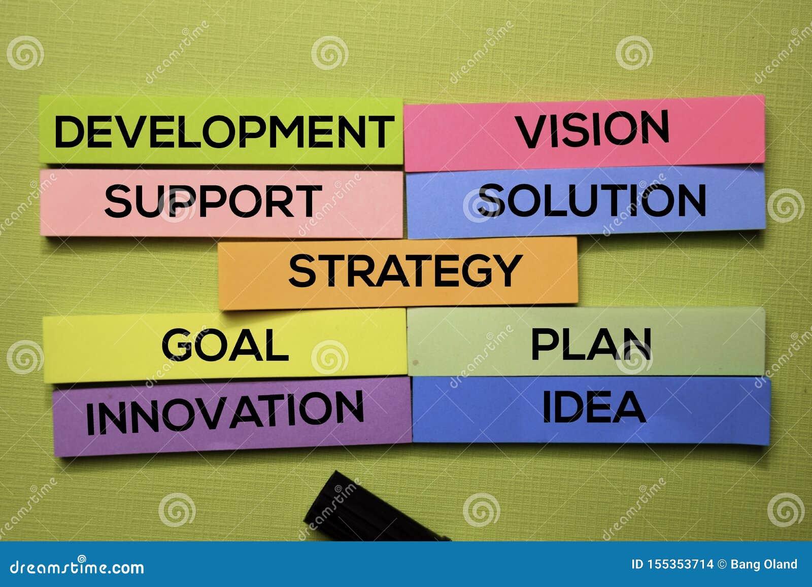 Strategia, rozwój, poparcie, wzrok, rozwiązanie, cel, plan, pomysł, innowacja tekst na kleistych notatkach odizolowywać na zielon