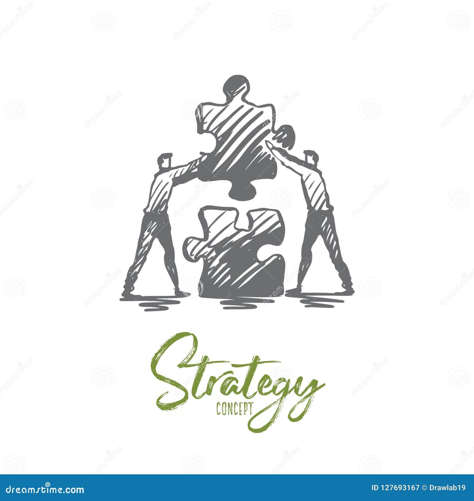 Strategie, raadsel, zaken, groepswerk, succesconcept Hand getrokken geïsoleerde vector