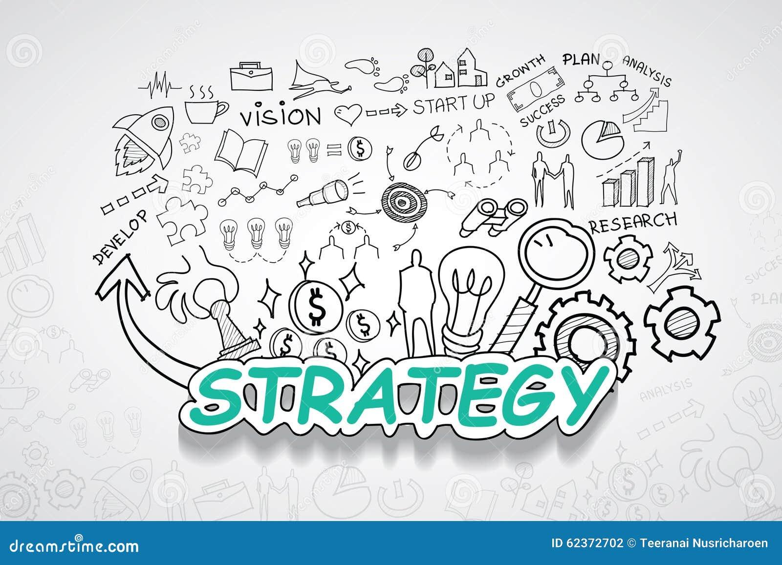 Strategietext, Mit Kreativer Zeichnungsdiagramm- Und ...