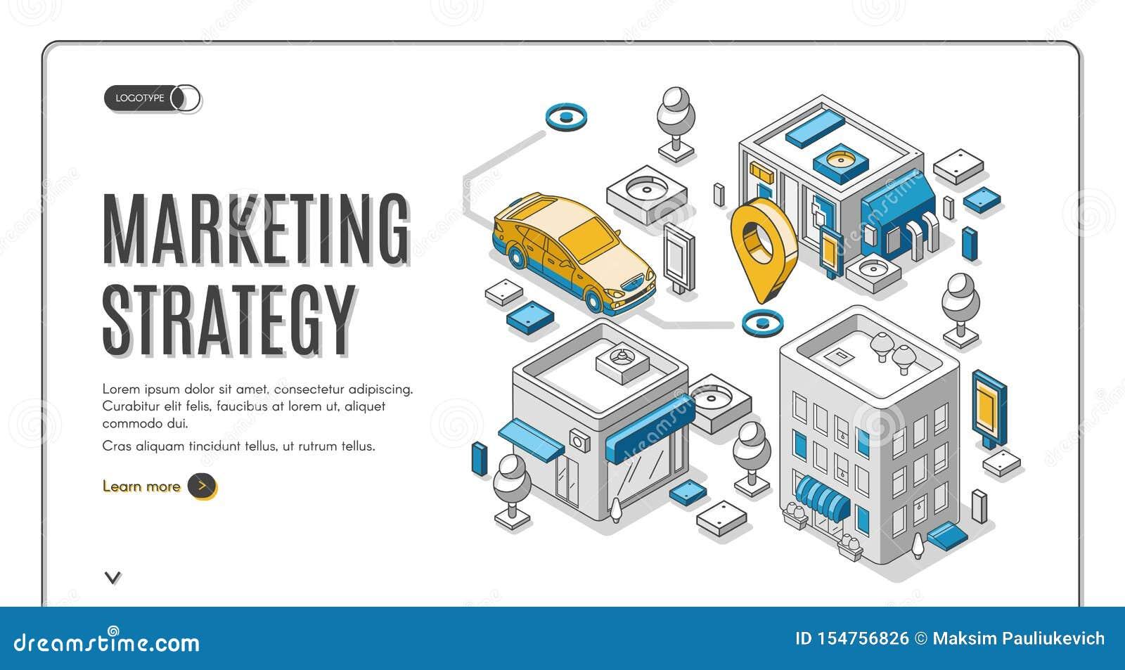 Strategii marketingowej sieci isometric sztandar, planuje