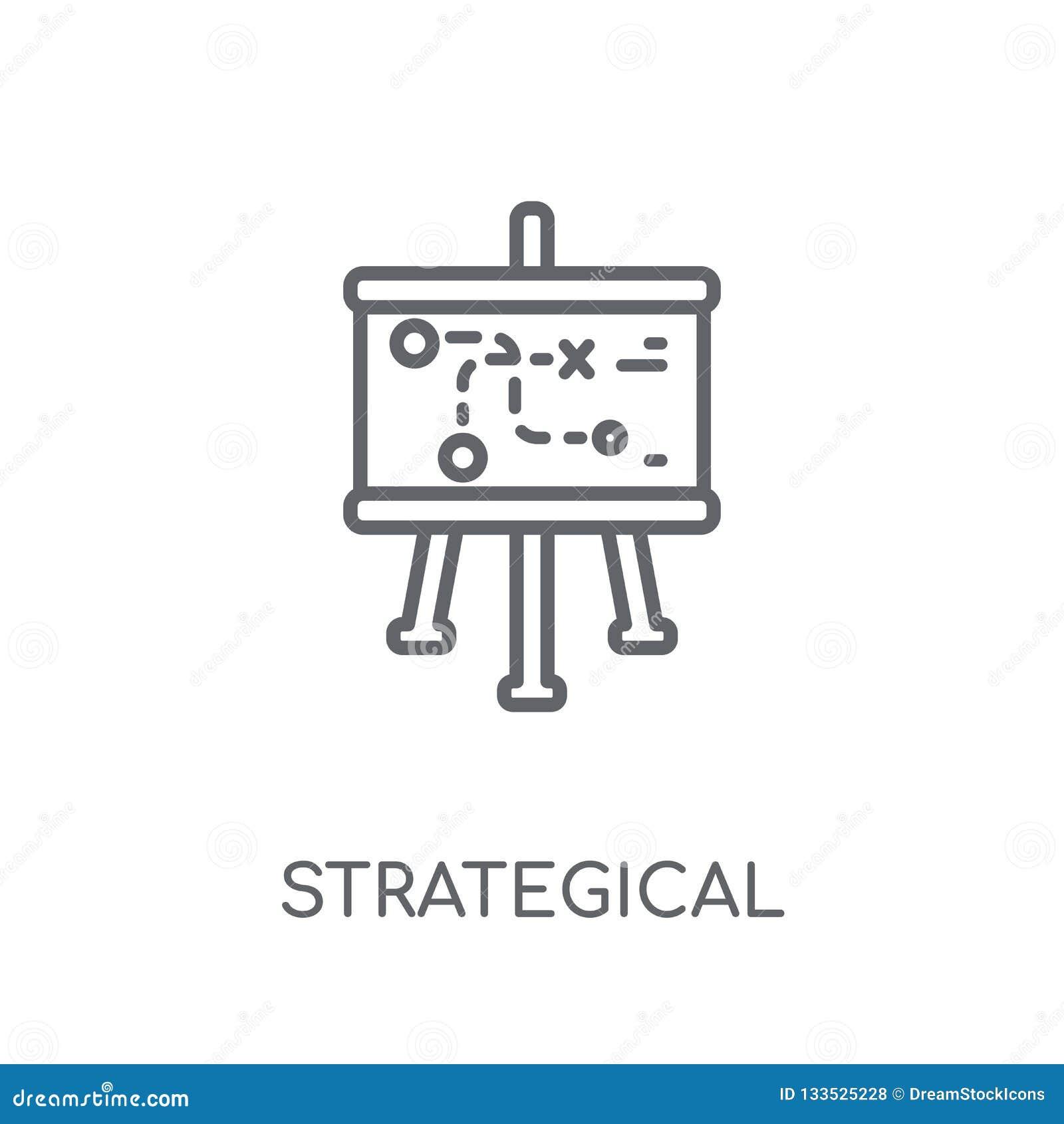 Strategisch plannings lineair pictogram Moderne overzichts Strategische pla