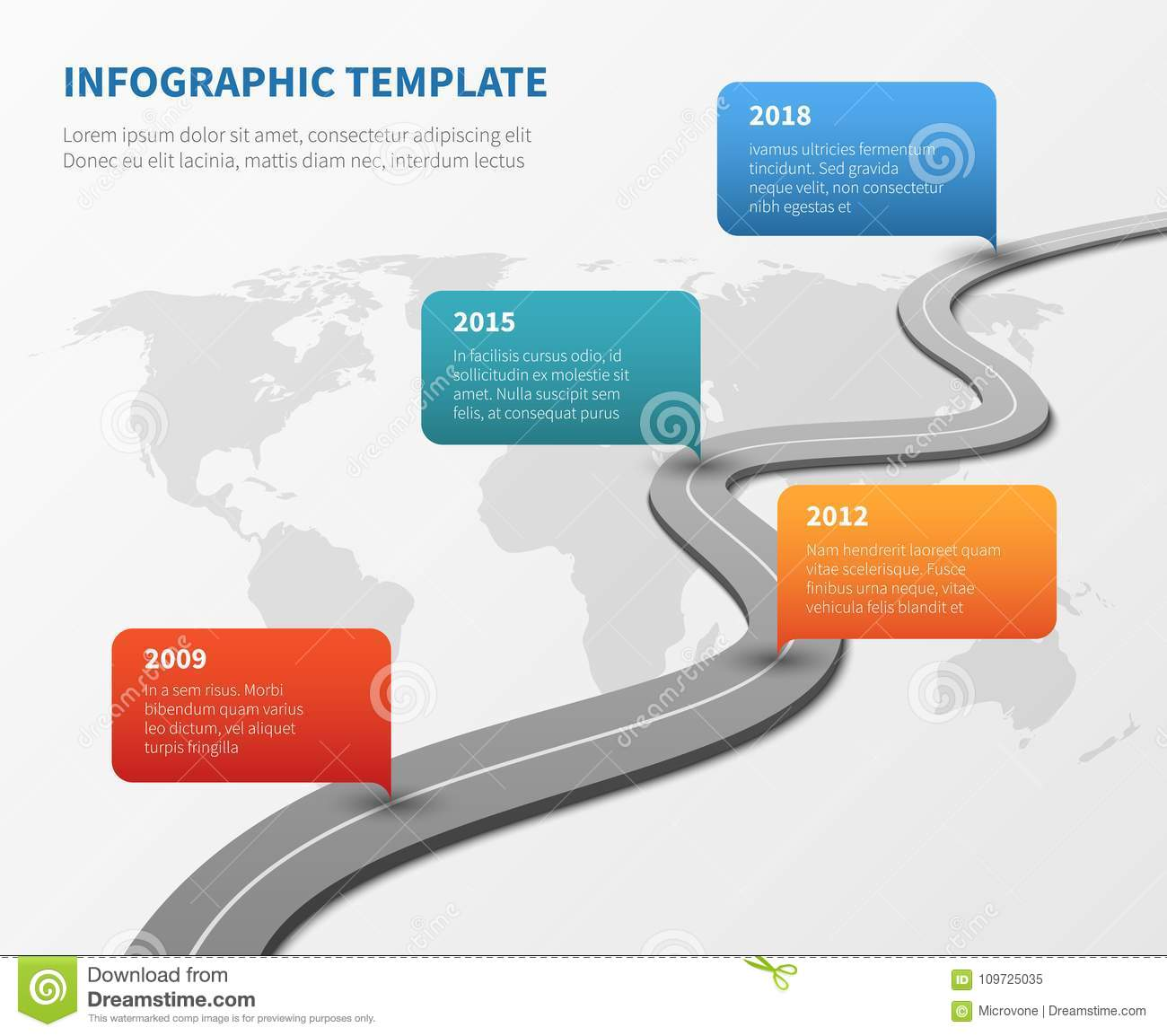 Strategy Chronological Road Map. Business Vector Timeline ...