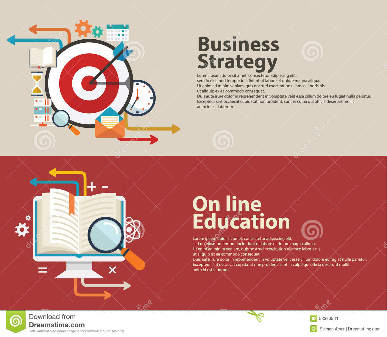 art education and graphic design web banner flat design stock