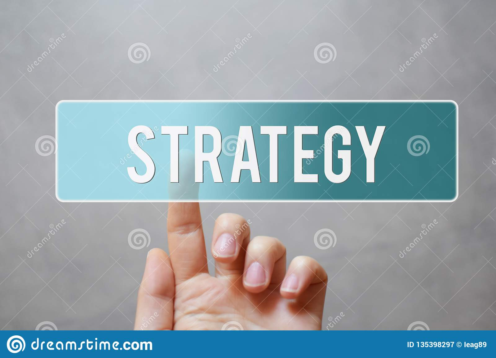 Strategy - finger pressing blue transparent button