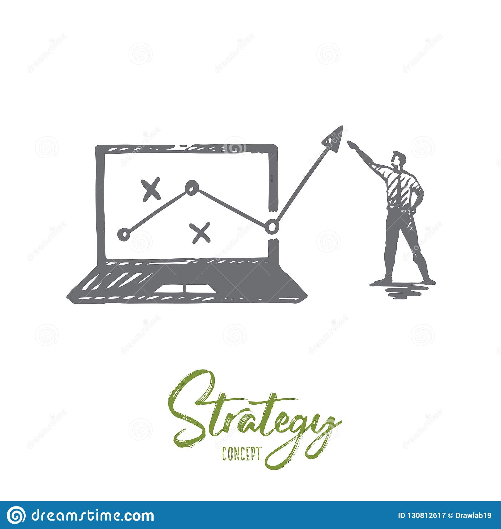 Strategy, marketing, graph, diagram, arrow concept. Hand drawn isolated vector.
