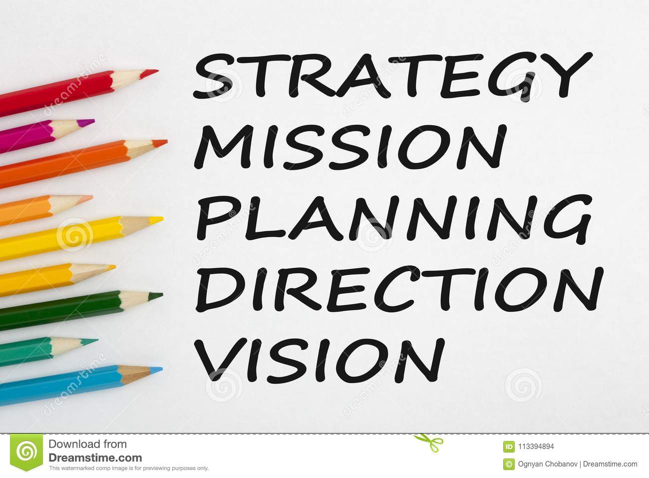 Strategy, Mission, Planning, Direction and Vision Concept