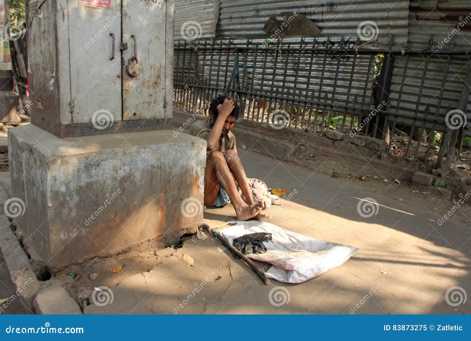 Straten van Kolkata bedelaars