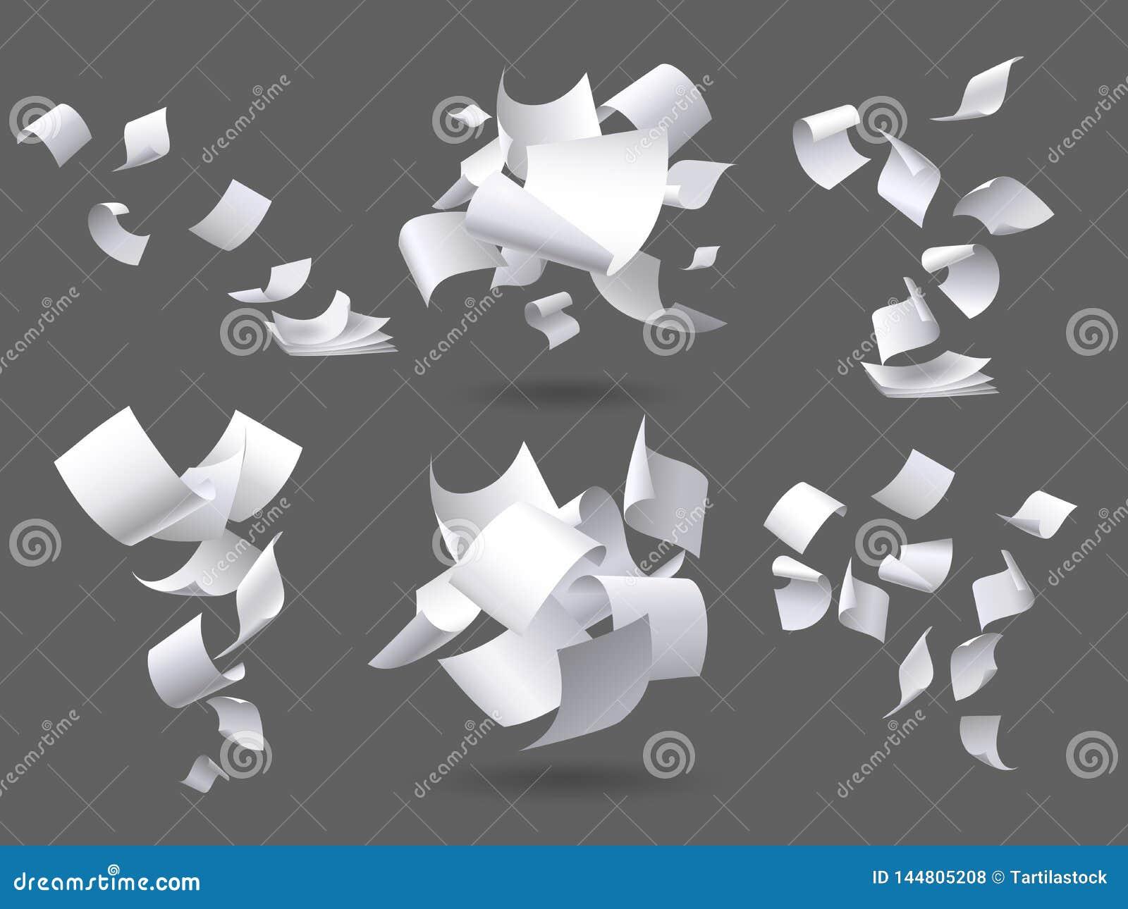 Strati di carta di caduta Pagine volanti delle carte, documenti bianchi dello strato e pagina del documento in bianco sul vettore