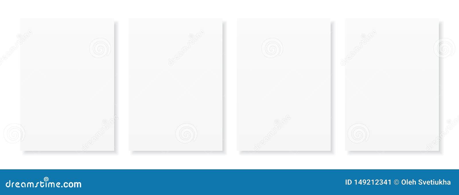 Strato in bianco A4 di Libro Bianco con ombra, modello per la vostra progettazione insieme Illustrazione di vettore