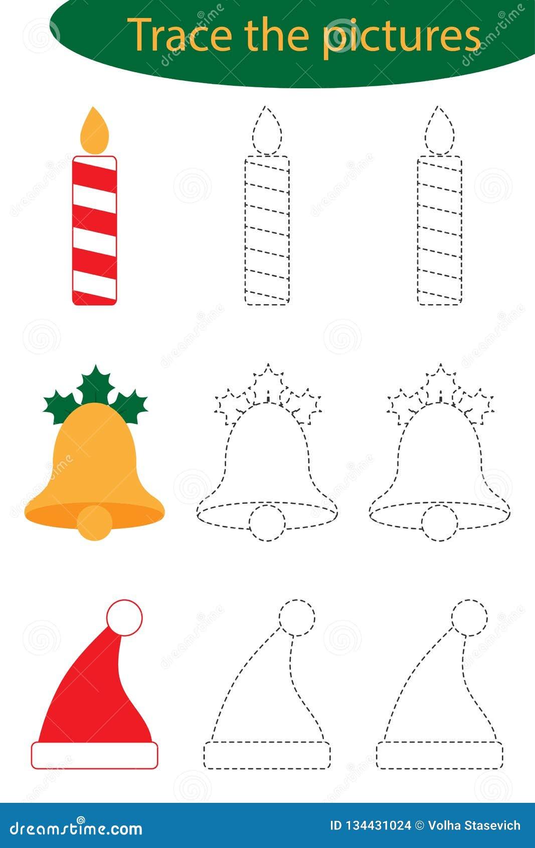 Strato di pratica della scrittura, natale, traccia le immagini - candela, campana, cappello di Santa, attività prescolare dei bam