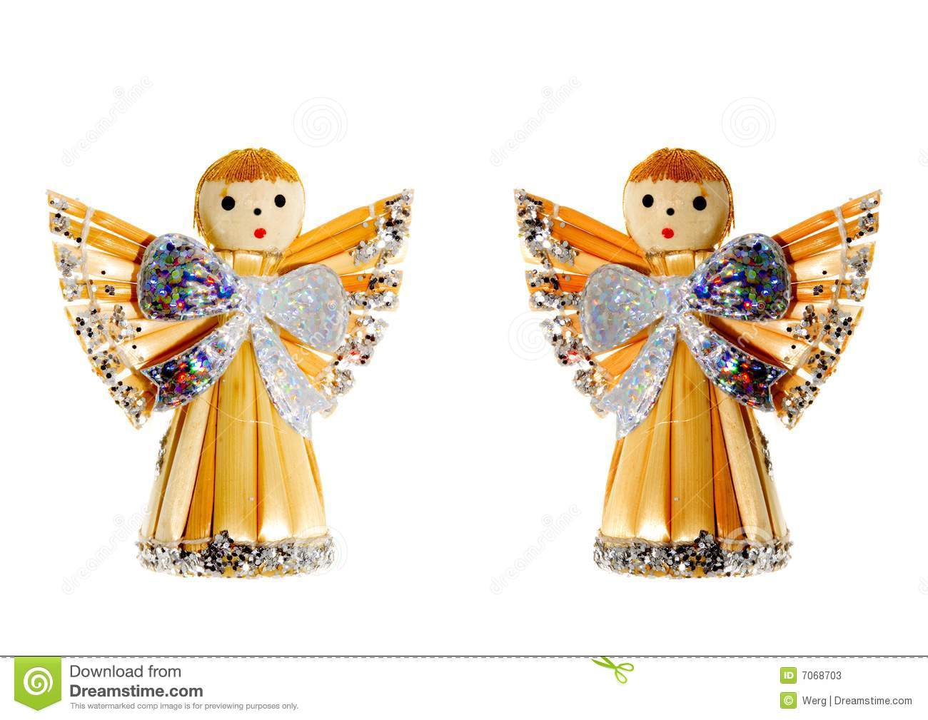 Straw Christmas Angels stock image. Image of natural, december - 7068703