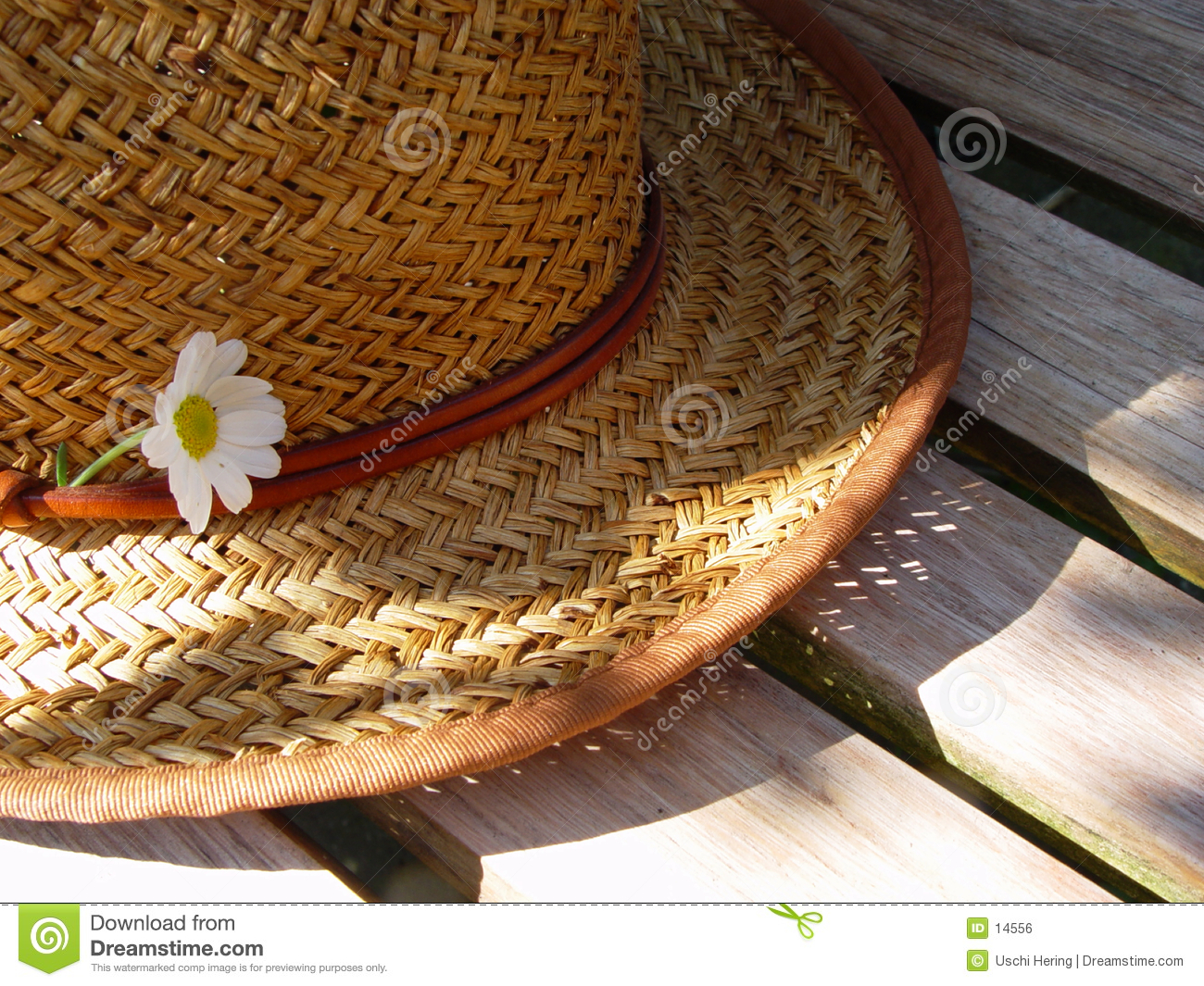 straw hat on a bench