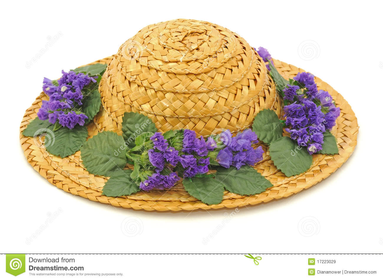 Straw hat with flowers stock image. Image of bonnet 34d048b8189