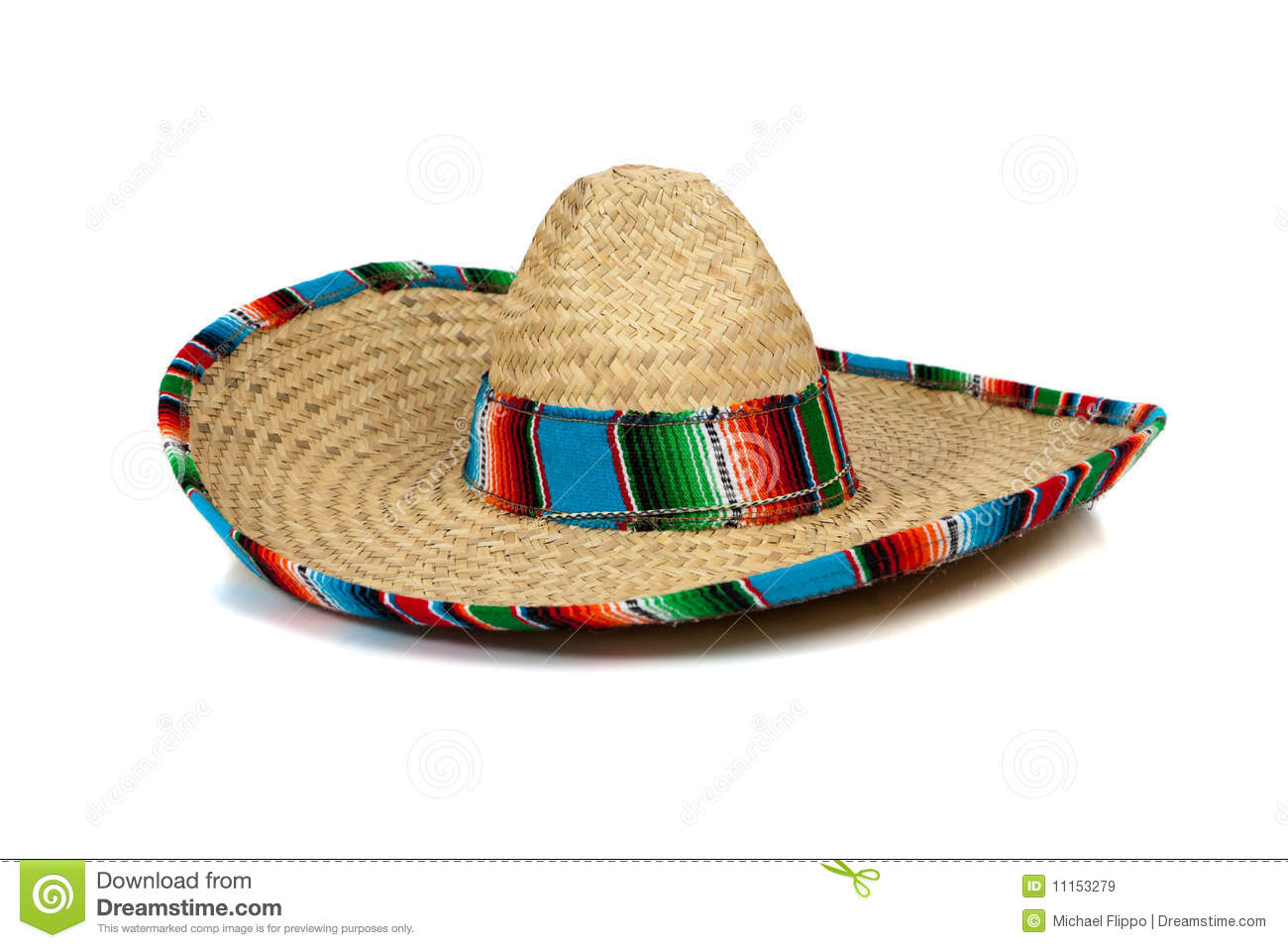 Straw Mexican Sombrero On White Background Royalty Free Stock Images ...