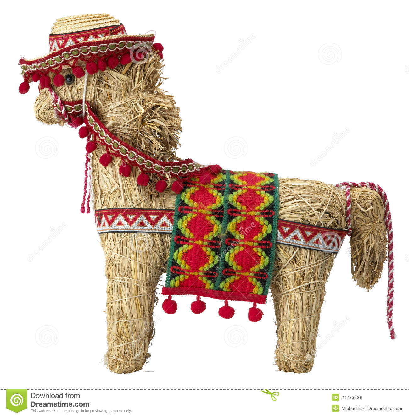 Side view of a straw spanish donkey with clipping path isolated on ...