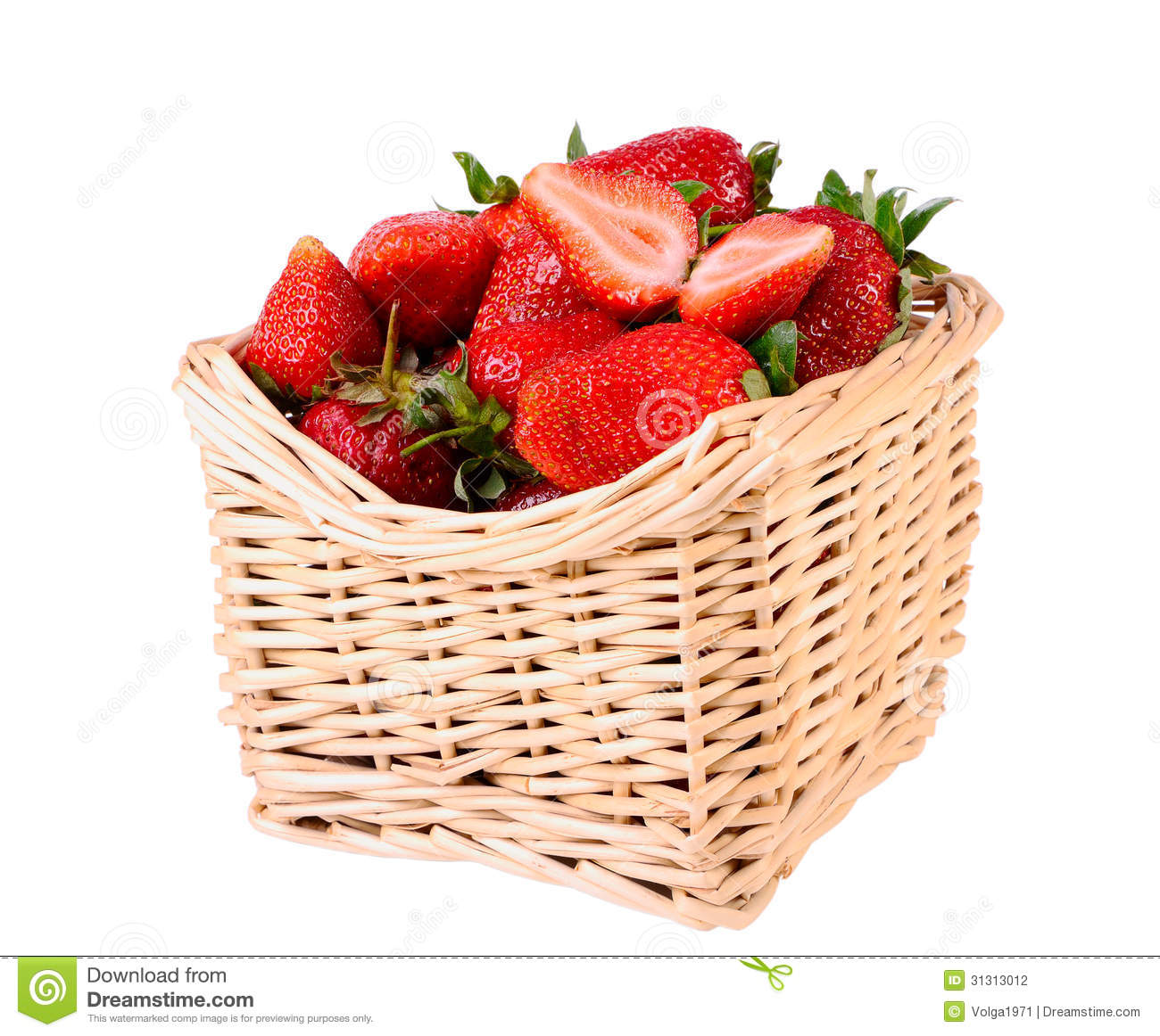 Strawberries In A Basket Stock Photography - Image: 31313012