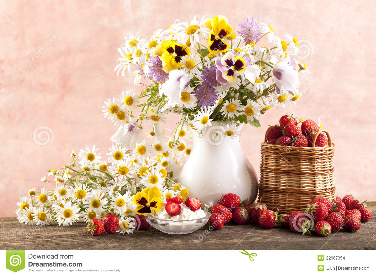 Strawberries And Bouquet Of Flowers Stock Photo - Image of beauty ...