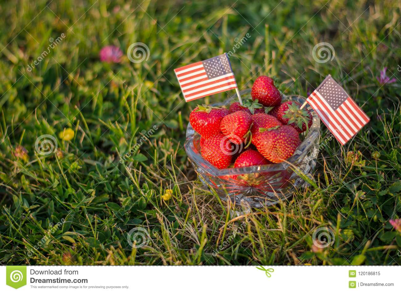 Strawberries in a bowl with american flags