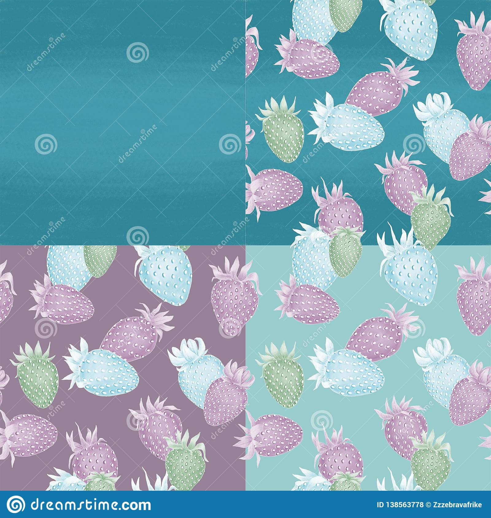 Strawberries on different dark blue backgrounds