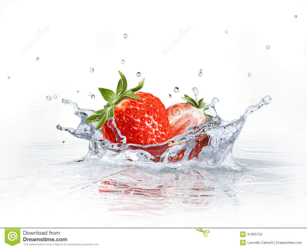 Strawberries falling into clear water, forming a crown splash. Viewed ...