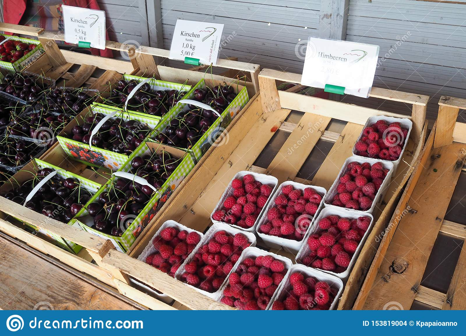 Strawberries And Fruits Sold On The Street In Durbach Offenburg Germany Editorial Stock Image Image Of Dessert Backgrounds 153819004