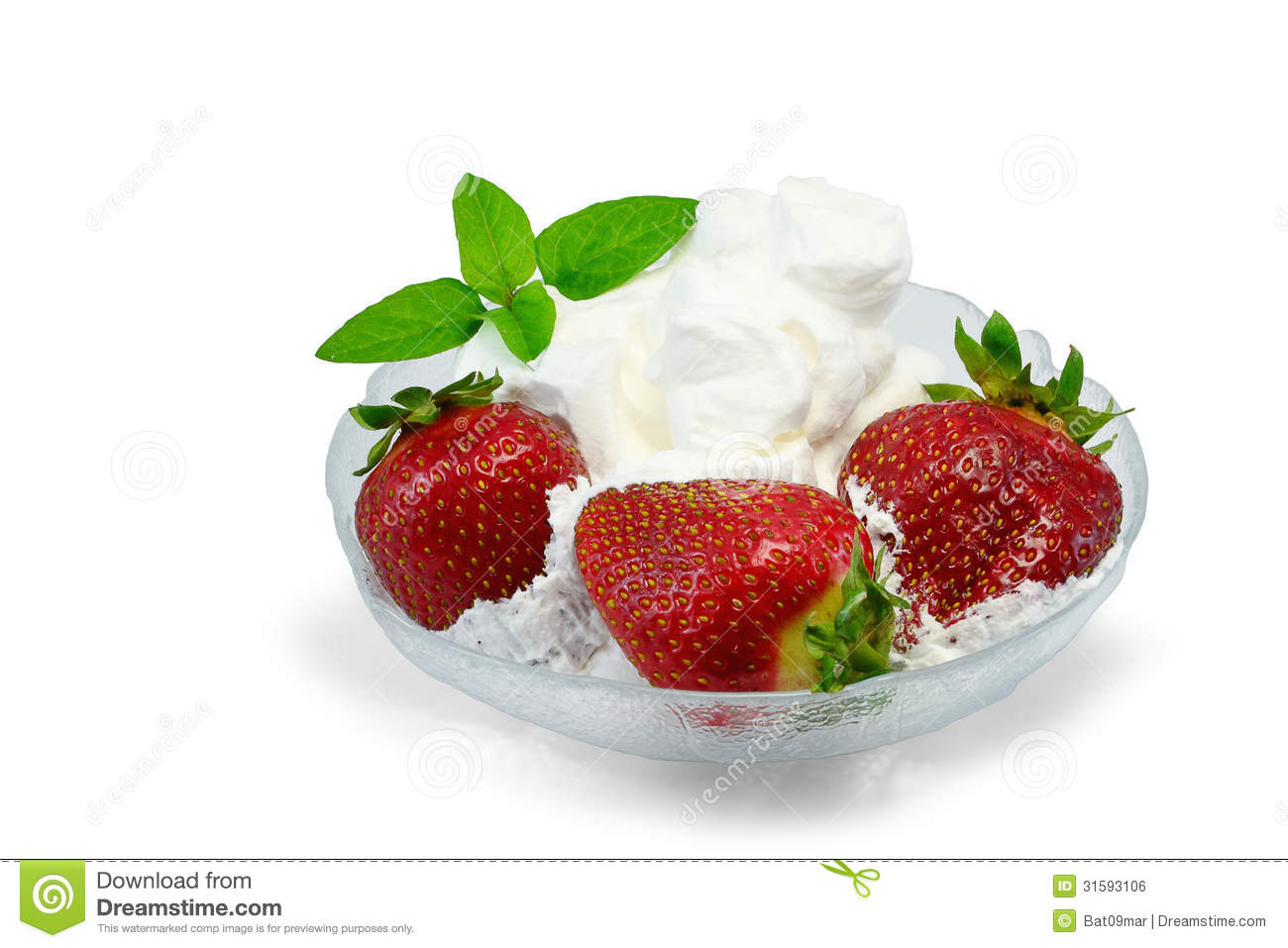 Strawberries And Whipped Cream Bowl Strawberries In Glass ...