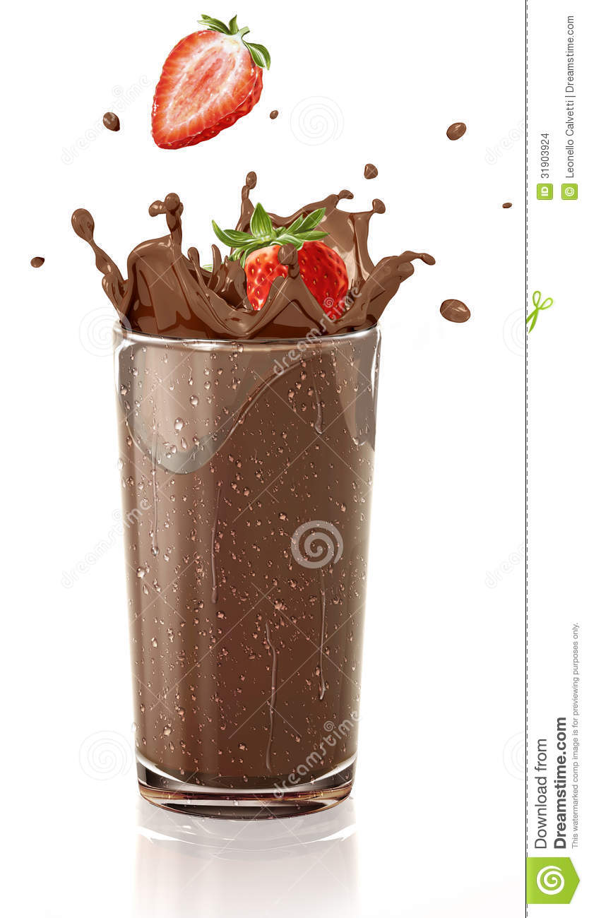 Strawberries Splashing Into A Chocolate Milkshake Glass