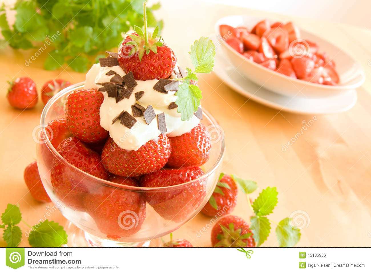 Strawberries And Whipped Cream Bowl Strawberries And Whipp...