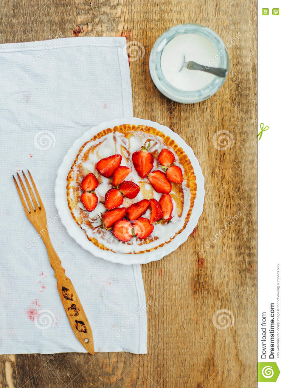 Download Strawberries And Whipped Cream For Dessert. Pancakes With Stra Stock Image - Image of pastry, meal: 72757801