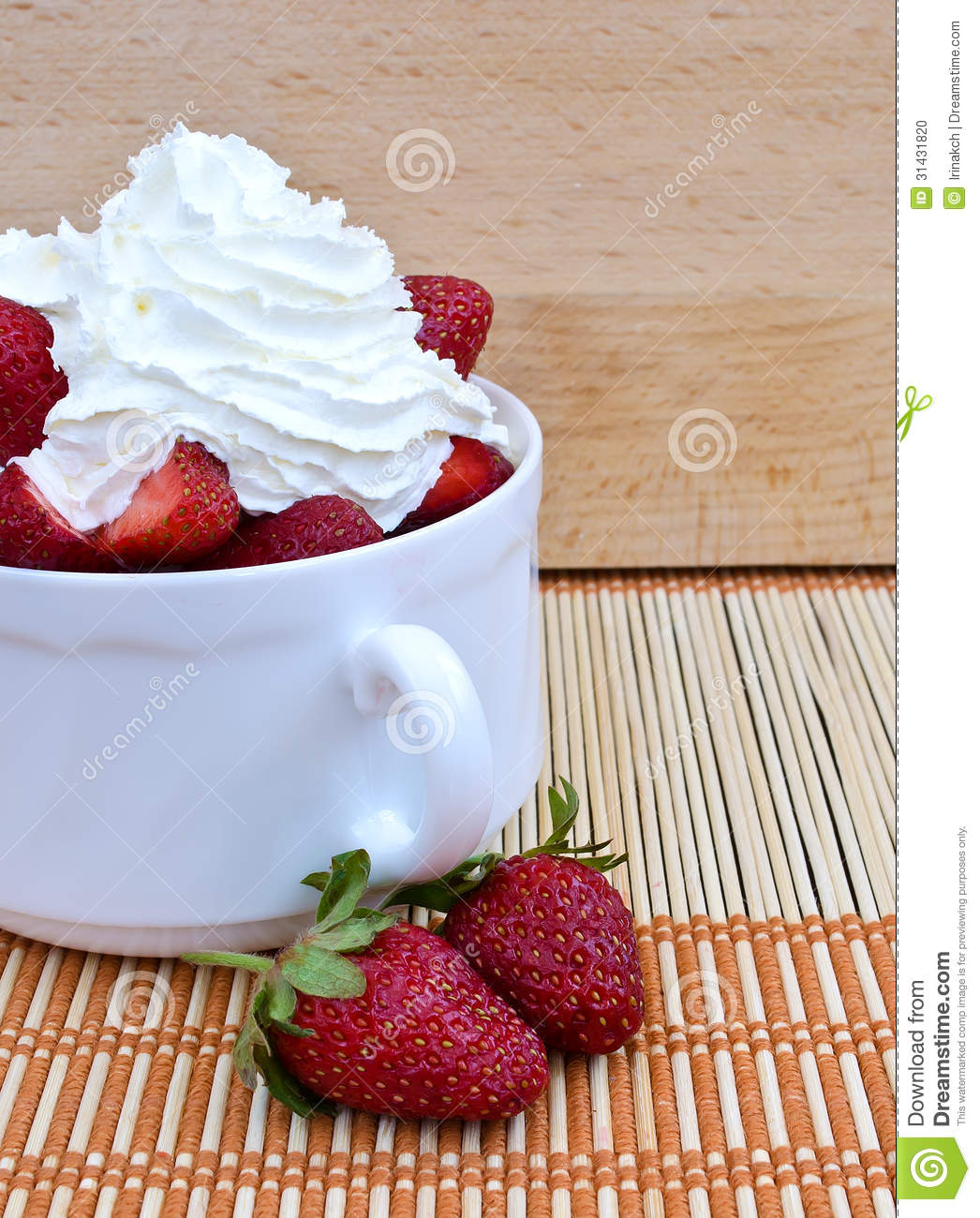Strawberries And Whipped Cream Bowl Strawberries With Whip...