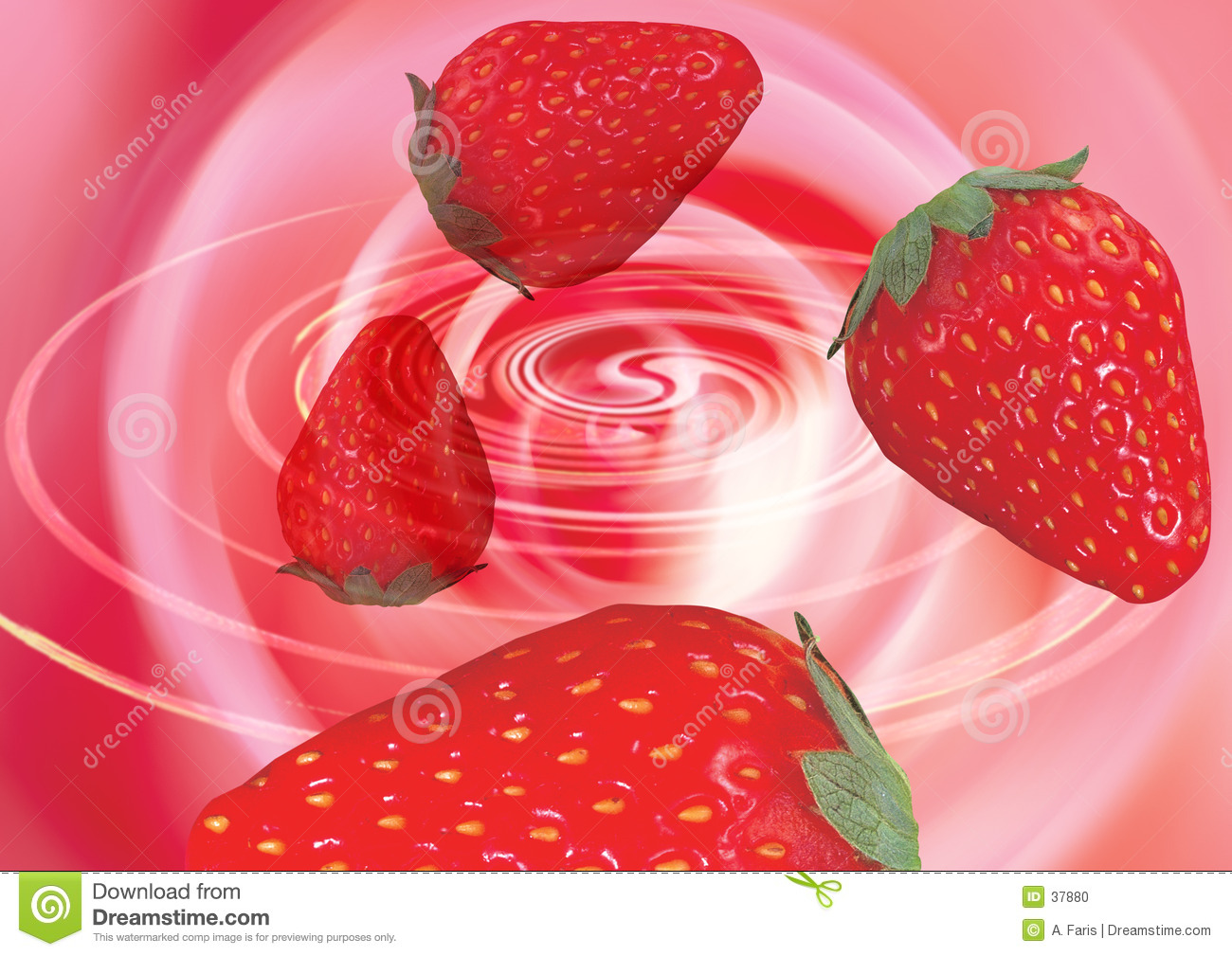 Strawberries in a whirlpool