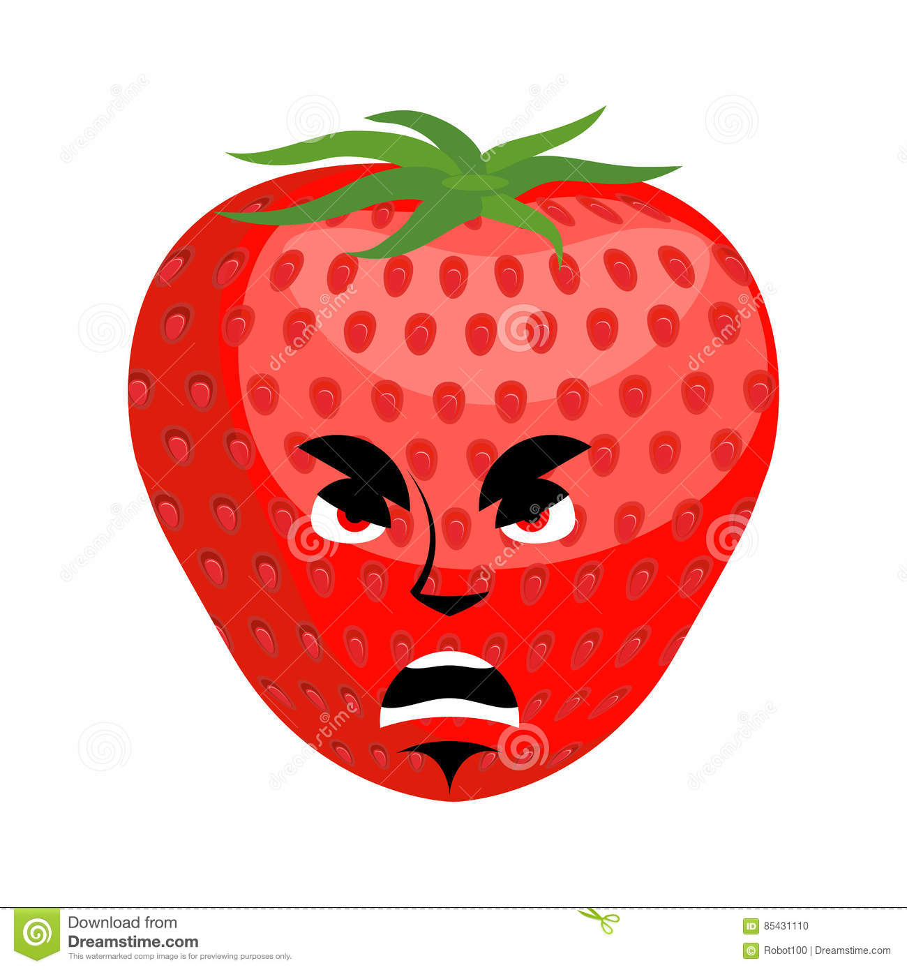 Strawberry Angry Emoji  Red Berry Evil Emotion Isolated