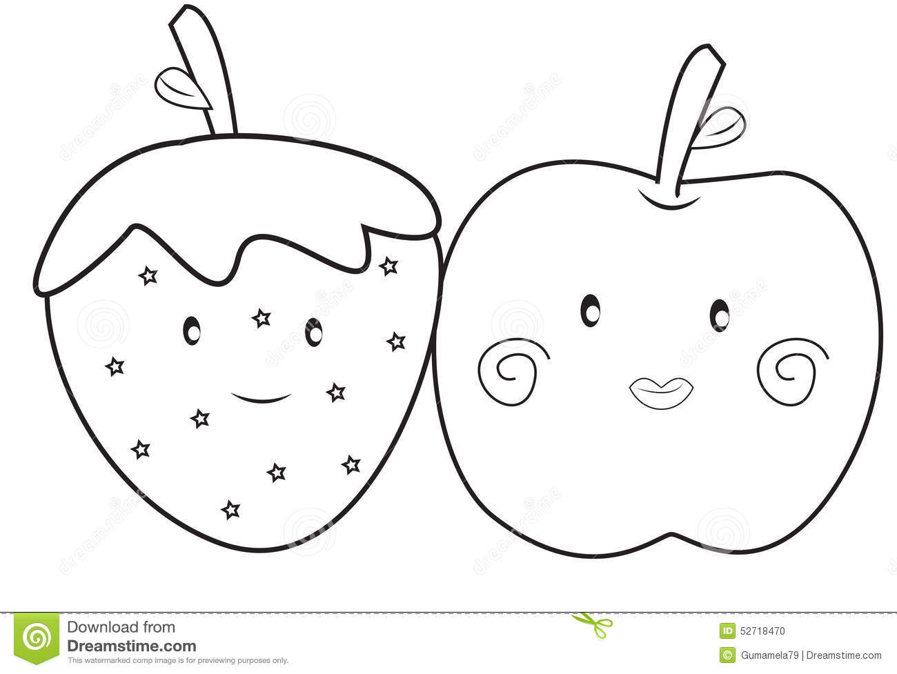 strawberry and apple coloring page stock illustration image