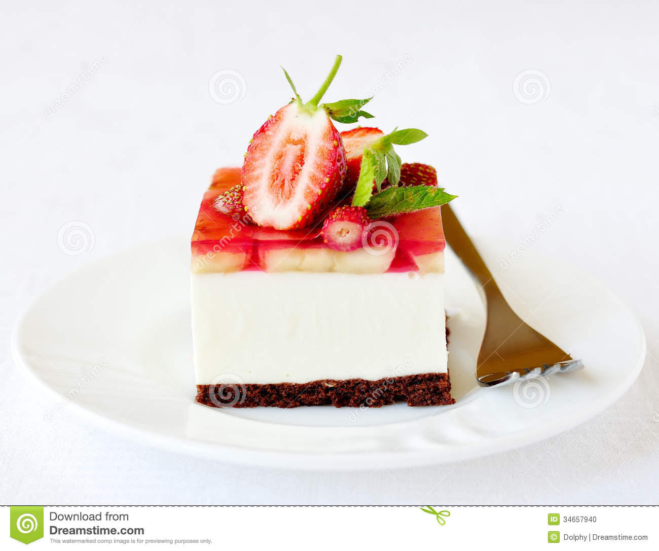 Mint Leaves On Strawberry Cake