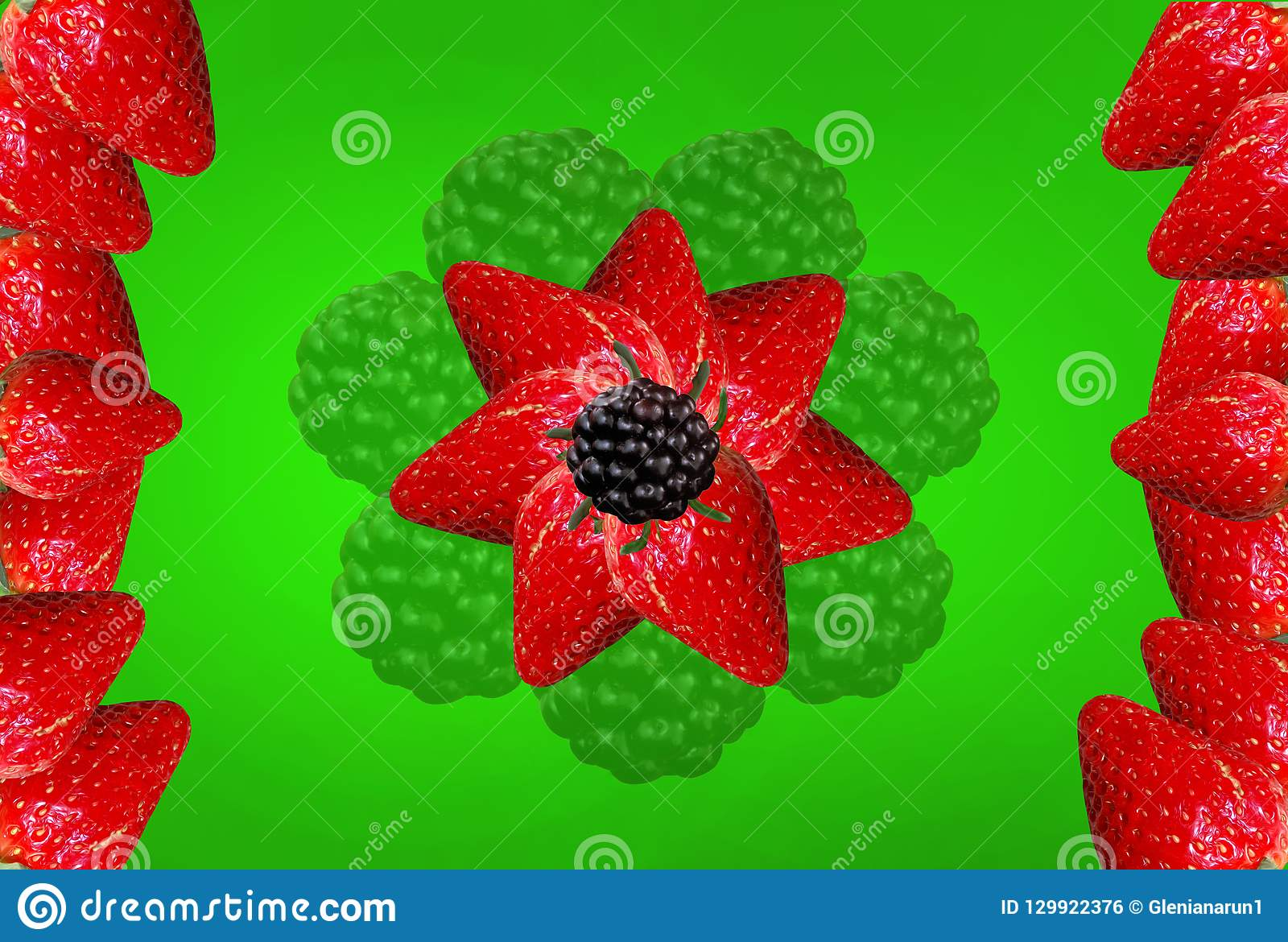 Strawberry blackberry flower on a green background for printing on a glass table. Vector clipart.