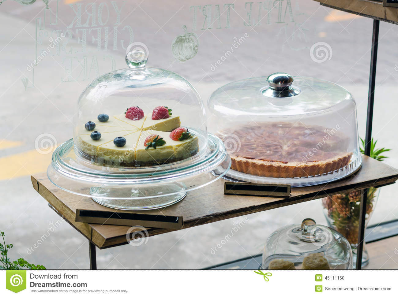 ... Photo: Strawberry, Blueberry cheesecake and apple tart on cake stand