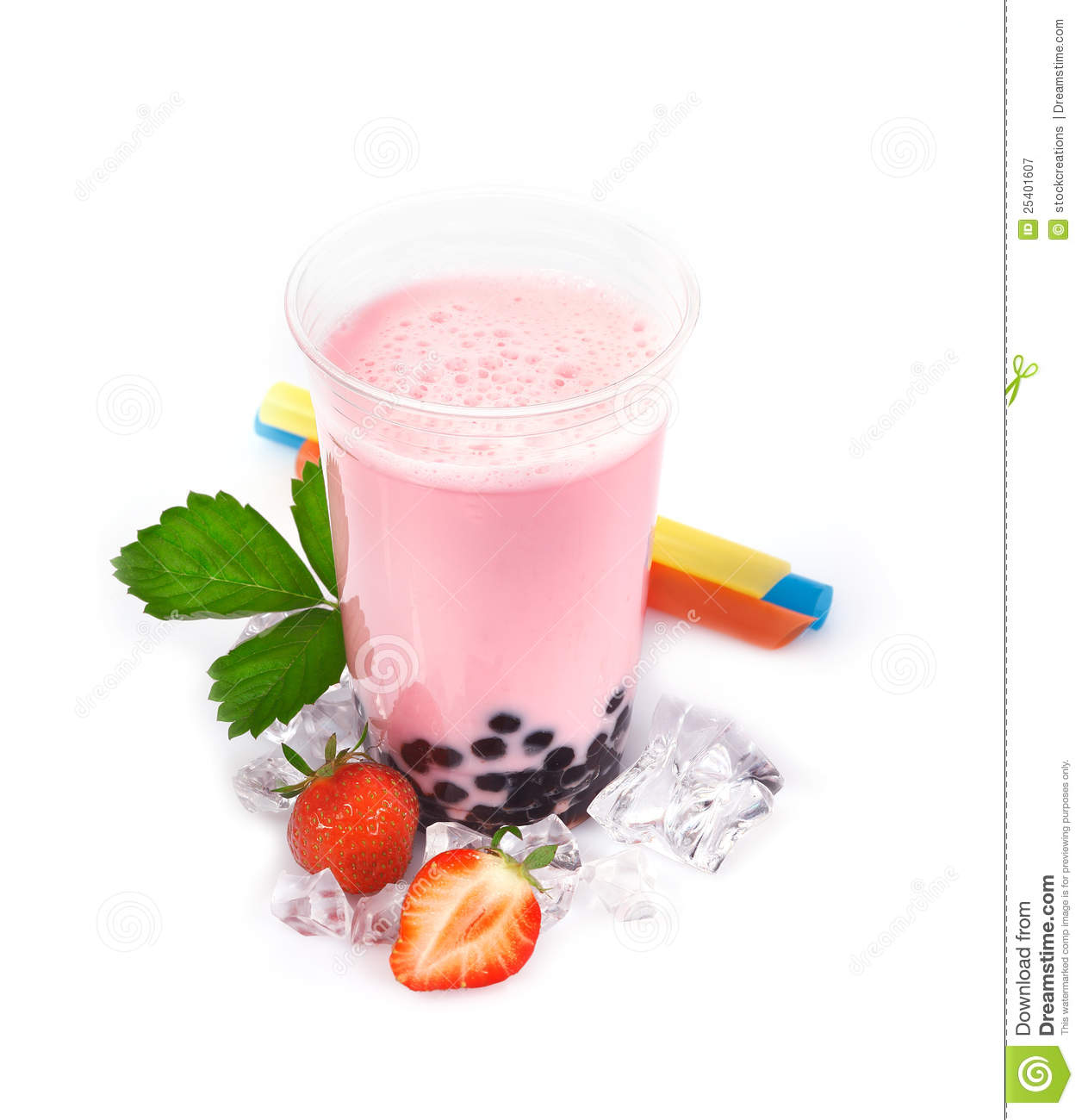 Strawberry Boba Bubble Tea Royalty Free Stock Photography ...
