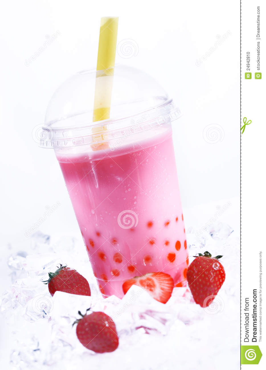 Strawberry Boba Tea stock photo. Image of fruit, bubble ...