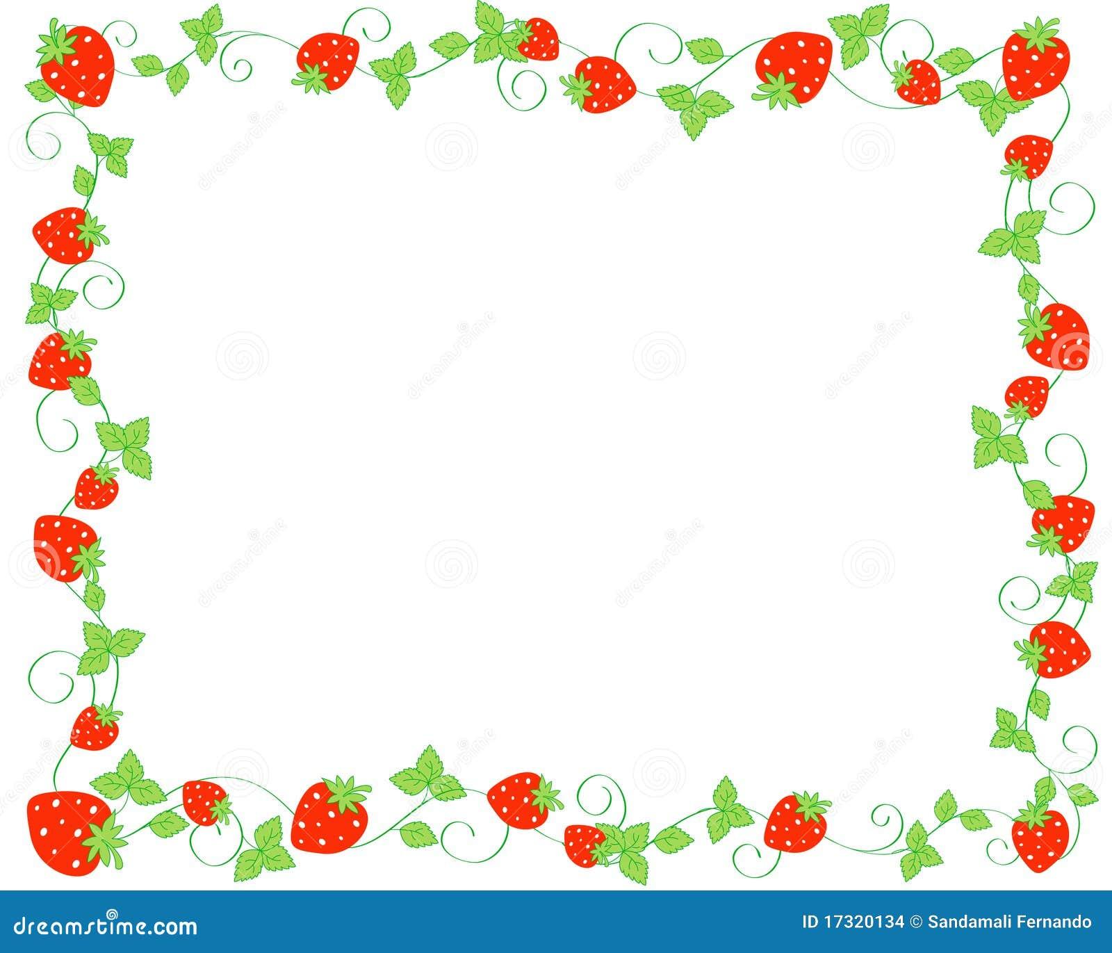 Red strawberries border / frame on white background.