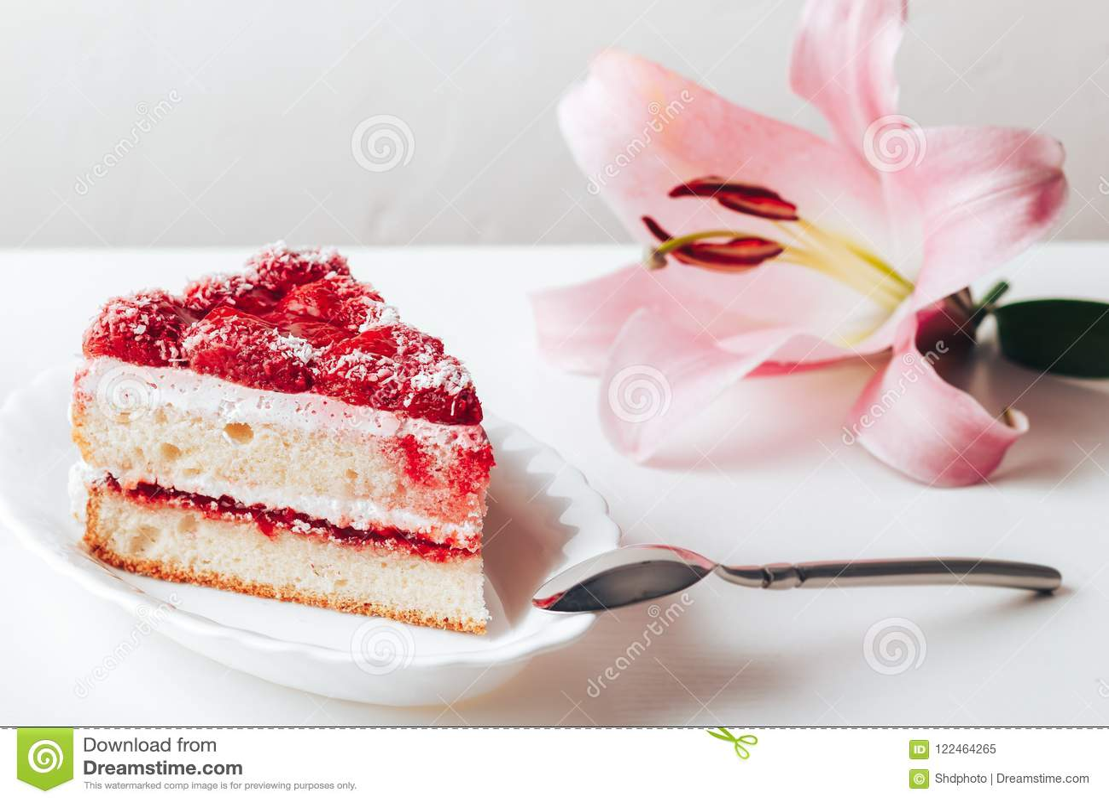Strawberry Cake On A White Background Stock Image Image Of